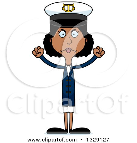 Clipart of a Cartoon Angry Tall Skinny Black Woman Boat Captain - Royalty Free Vector Illustration by Cory Thoman