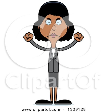 Clipart of a Cartoon Angry Tall Skinny Black Business Woman - Royalty Free Vector Illustration by Cory Thoman