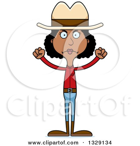 Clipart of a Cartoon Angry Tall Skinny Black Cowgirl Woman - Royalty Free Vector Illustration by Cory Thoman