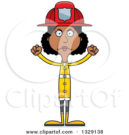 Clipart of a Cartoon Angry Tall Skinny Black Woman Firefighter - Royalty Free Vector Illustration by Cory Thoman