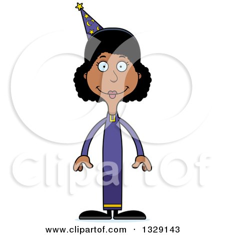 Clipart of a Cartoon Happy Tall Skinny Black Wizard Woman - Royalty Free Vector Illustration by Cory Thoman