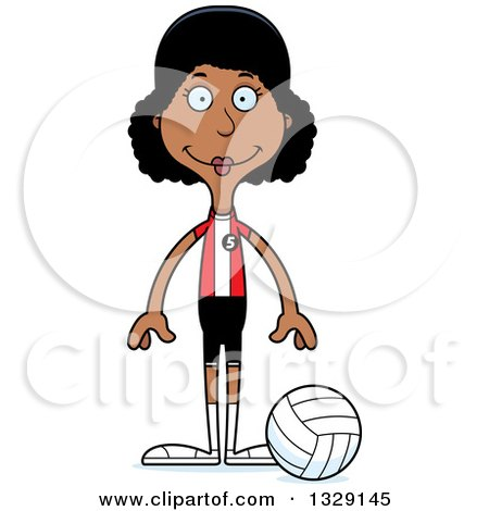 Clipart of a Cartoon Happy Tall Skinny Black Woman Volleyball Player - Royalty Free Vector Illustration by Cory Thoman