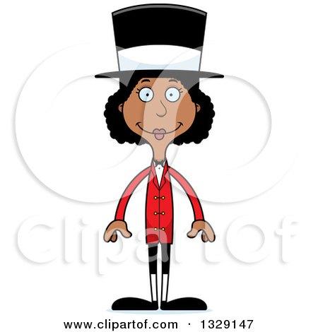 Clipart of a Cartoon Happy Tall Skinny Black Woman Circus Ringmaster - Royalty Free Vector Illustration by Cory Thoman