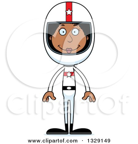 Clipart of a Cartoon Happy Tall Skinny Black Woman Race Car Driver - Royalty Free Vector Illustration by Cory Thoman