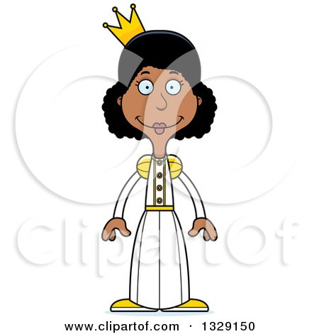 Clipart of a Cartoon Happy Tall Skinny Black Woman Princess - Royalty Free Vector Illustration by Cory Thoman