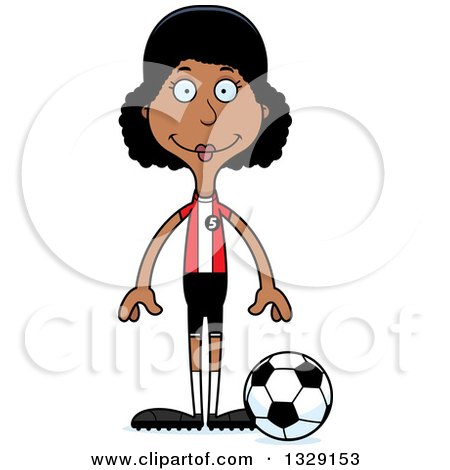 Clipart of a Cartoon Happy Tall Skinny Black Woman Soccer Player - Royalty Free Vector Illustration by Cory Thoman