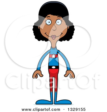 Clipart of a Cartoon Happy Tall Skinny Black Super Hero Woman - Royalty Free Vector Illustration by Cory Thoman