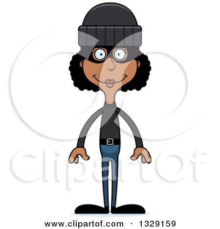 Clipart of a Cartoon Happy Tall Skinny Black Woman Robber - Royalty Free Vector Illustration by Cory Thoman