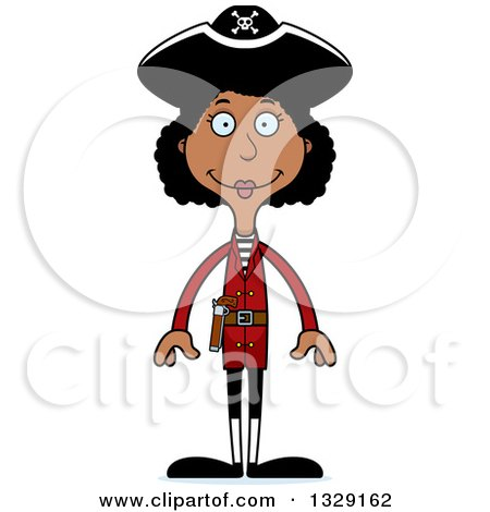 Clipart of a Cartoon Happy Tall Skinny Black Woman Pirate - Royalty Free Vector Illustration by Cory Thoman