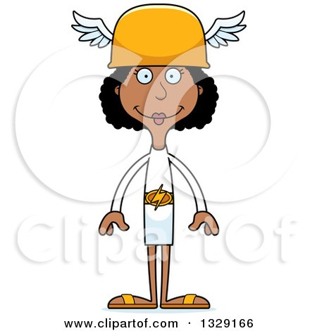 Clipart of a Cartoon Happy Tall Skinny Black Hermes Woman - Royalty Free Vector Illustration by Cory Thoman