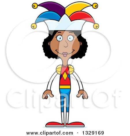 Clipart of a Cartoon Happy Tall Skinny Black Woman Jester - Royalty Free Vector Illustration by Cory Thoman