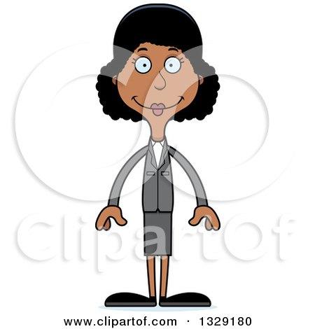 Cartoon Happy Tall Skinny Black Business Woman Posters, Art Prints