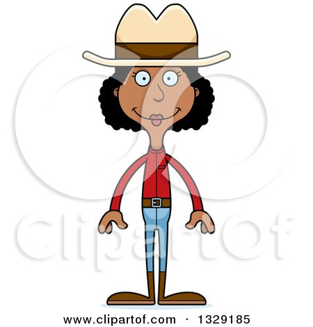 Clipart of a Cartoon Happy Tall Skinny Black Cowgirl Woman - Royalty Free Vector Illustration by Cory Thoman