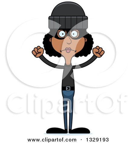 Clipart of a Cartoon Angry Tall Skinny Black Woman Robber - Royalty Free Vector Illustration by Cory Thoman