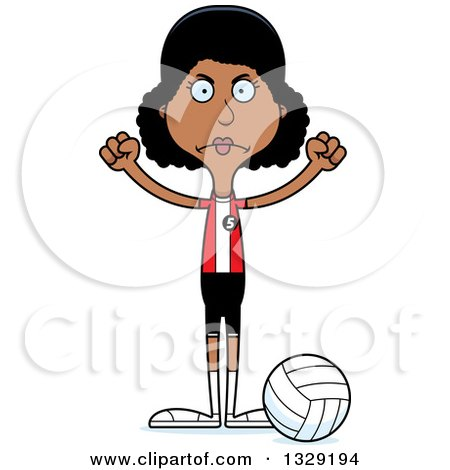 Clipart of a Cartoon Angry Tall Skinny Black Woman Volleyball Player - Royalty Free Vector Illustration by Cory Thoman