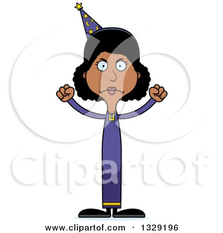 Clipart of a Cartoon Angry Tall Skinny Black Wizard Woman - Royalty Free Vector Illustration by Cory Thoman