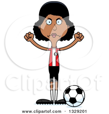 Clipart of a Cartoon Angry Tall Skinny Black Woman Soccer Player - Royalty Free Vector Illustration by Cory Thoman