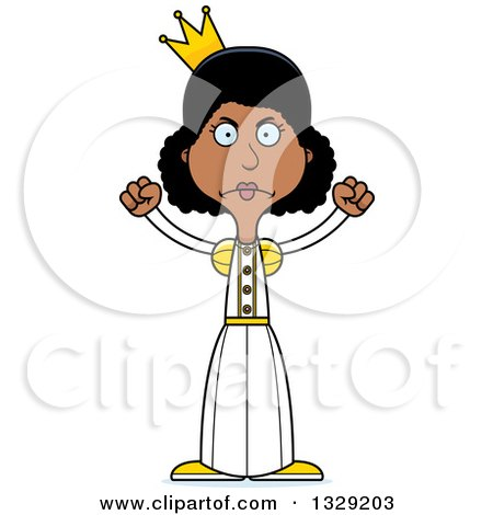 Clipart of a Cartoon Angry Tall Skinny Black Woman Princess - Royalty Free Vector Illustration by Cory Thoman