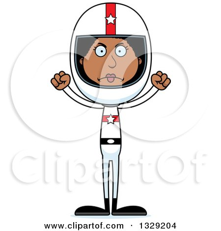 Clipart of a Cartoon Angry Tall Skinny Black Woman Race Car Driver - Royalty Free Vector Illustration by Cory Thoman