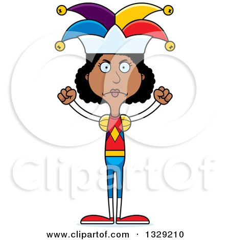 Clipart of a Cartoon Angry Tall Skinny Black Woman Jester - Royalty Free Vector Illustration by Cory Thoman