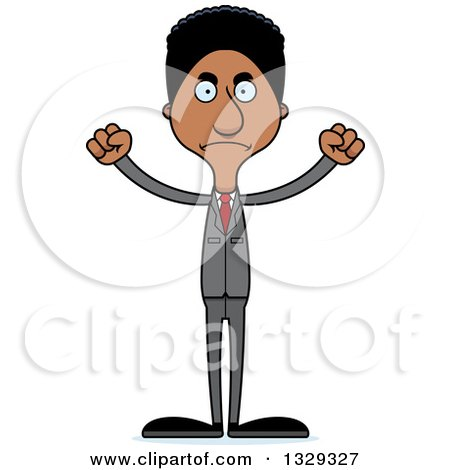 Clipart of a Cartoon Angry Tall Skinny Black Business Man - Royalty Free Vector Illustration by Cory Thoman