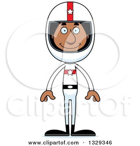Clipart of a Cartoon Happy Tall Skinny Black Man Race Car Driver - Royalty Free Vector Illustration by Cory Thoman