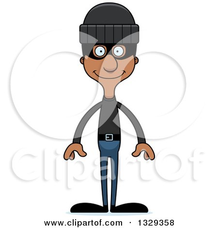 Clipart of a Cartoon Happy Tall Skinny Black Man Robber - Royalty Free Vector Illustration by Cory Thoman
