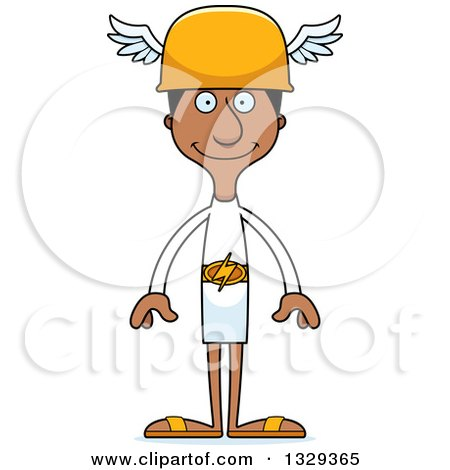 Clipart of a Cartoon Happy Tall Skinny Black Hermes Man - Royalty Free Vector Illustration by Cory Thoman