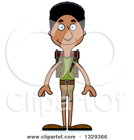 Clipart of a Cartoon Happy Tall Skinny Black Man Hiker - Royalty Free Vector Illustration by Cory Thoman