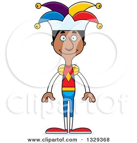 Clipart of a Cartoon Happy Tall Skinny Black Man Jester - Royalty Free Vector Illustration by Cory Thoman