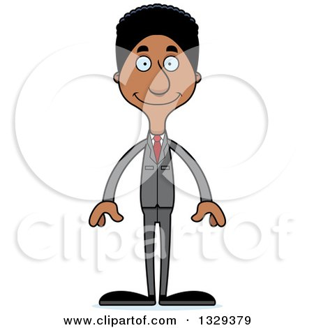 Clipart of a Cartoon Happy Tall Skinny Black Business Man - Royalty Free Vector Illustration by Cory Thoman