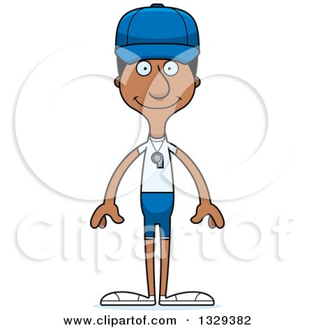 Clipart of a Cartoon Happy Tall Skinny Black Man Sports Coach - Royalty Free Vector Illustration by Cory Thoman