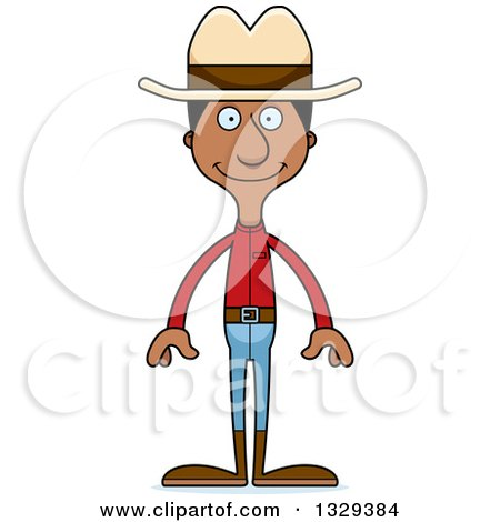 Clipart of a Cartoon Happy Tall Skinny Black Man Cowboy - Royalty Free Vector Illustration by Cory Thoman