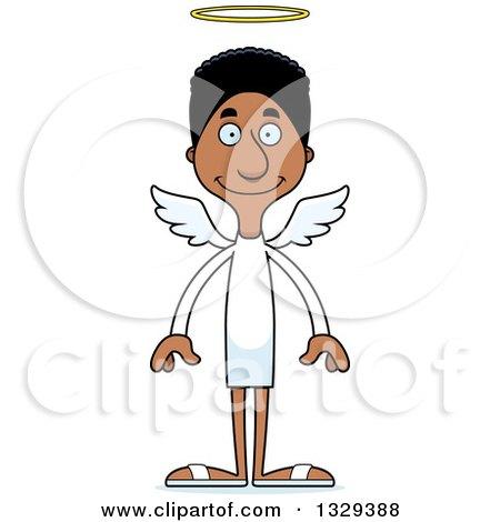 Clipart of a Cartoon Happy Tall Skinny Black Man Angel - Royalty Free Vector Illustration by Cory Thoman