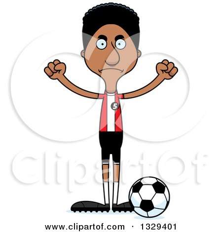 Clipart of a Cartoon Angry Tall Skinny Black Man Soccer Player - Royalty Free Vector Illustration by Cory Thoman
