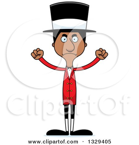 Clipart of a Cartoon Angry Tall Skinny Black Man Circus Ringmaster - Royalty Free Vector Illustration by Cory Thoman