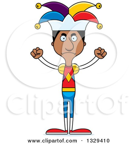 Clipart of a Cartoon Angry Tall Skinny Black Man Jester - Royalty Free Vector Illustration by Cory Thoman