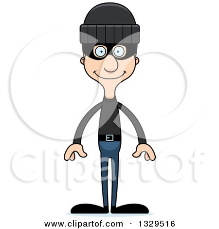 Clipart of a Cartoon Happy Tall Skinny White Robber Man - Royalty Free Vector Illustration by Cory Thoman