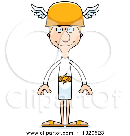 Clipart of a Cartoon Happy Tall Skinny White Hermes Man - Royalty Free Vector Illustration by Cory Thoman