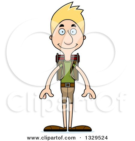 Clipart of a Cartoon Happy Tall Skinny White Man Hiker - Royalty Free Vector Illustration by Cory Thoman