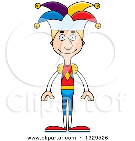 Clipart of a Cartoon Happy Tall Skinny White Man Jester - Royalty Free Vector Illustration by Cory Thoman