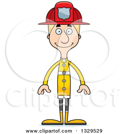 Clipart of a Cartoon Happy Tall Skinny White Man Firefighter - Royalty Free Vector Illustration by Cory Thoman