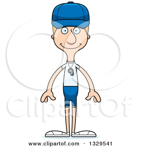 Clipart of a Cartoon Happy Tall Skinny White Man Sports Coach - Royalty Free Vector Illustration by Cory Thoman
