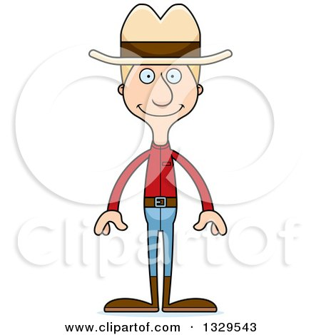 Clipart of a Cartoon Happy Tall Skinny White Man Cowoby - Royalty Free Vector Illustration by Cory Thoman