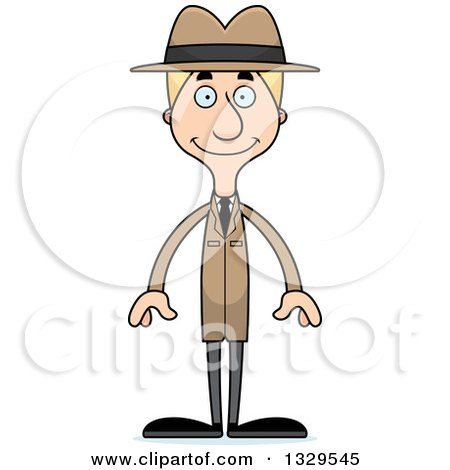 Clipart of a Cartoon Happy Tall Skinny White Detective Man - Royalty Free Vector Illustration by Cory Thoman