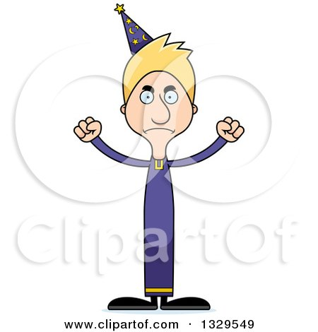 Clipart of a Cartoon Angry Tall Skinny White Wizard Man - Royalty Free Vector Illustration by Cory Thoman