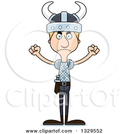 Clipart of a Cartoon Angry Tall Skinny White Viking Man - Royalty Free Vector Illustration by Cory Thoman