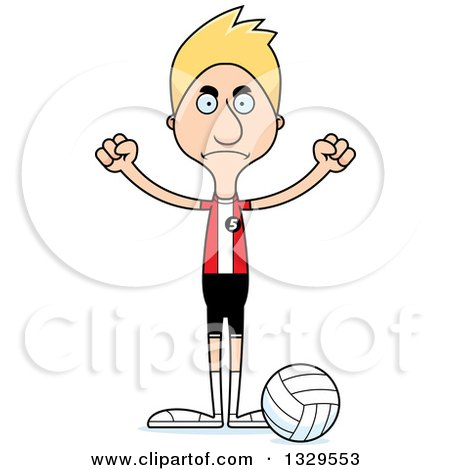 Clipart of a Cartoon Angry Tall Skinny White Man Volleyball Player - Royalty Free Vector Illustration by Cory Thoman