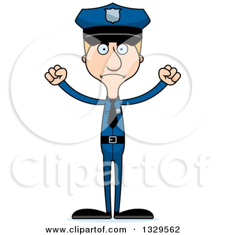 Clipart of a Cartoon Angry Tall Skinny White Man Police Officer - Royalty Free Vector Illustration by Cory Thoman