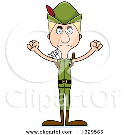 Clipart of a Cartoon Angry Tall Skinny White Robin Hood Man - Royalty Free Vector Illustration by Cory Thoman